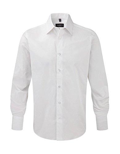 Russell Herren pflegeleichtes körperbetontes Langarm Stretch-Hemd R-946M-0 White S