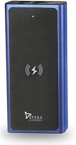 Syska Wireless 10000 mAh Fast Charging 10 W Power Bank (Blue&Black, Lithium Polymer) 2021 July Model Number: WPB1002 Warranty: 6 Months Manufacturer Warranty from Date of Invoice Package Contents: 1N Power Bank, 1 N Fast Charging Type-C Cable, 1N User Manual, and Warranty Card