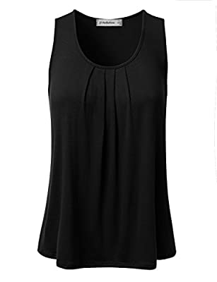 JJ Perfection Womens Sleeveless Pleated Scoop Neck Flared Hem Tank Top