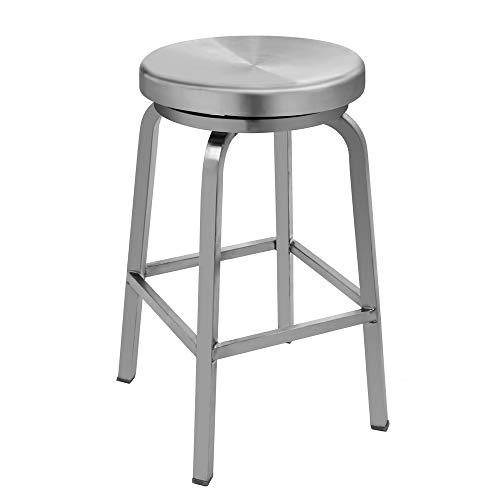 IRICA Stainless Steel Swivel Round Seat Backless Counter Hgt Bar Stool, Commercial Quality, Satin Brushed Finish, 24 inches Seat Hgt, Indoor Porch Use, 1 Pack