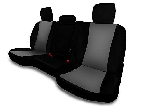CarsCover Custom Fit 2014-2019 Toyota Tundra Pickup Truck Neoprene Car Rear 60/40 Seat Covers with Armrest Gray & Black - Toyota Tundra Sr5