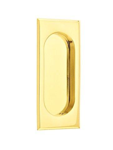 Emtek 2201 4 Inch High Solid Brass Rectangular Flush Pull for Sliding Doors, French Antique