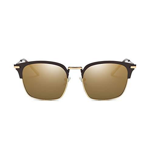 de Frame y Retro Hombre para Gafas de Sol Sakuldes Gold Estilo Fram Gafas Sol Mujer de Blue Retro con Lens Lens UV protección Medio con Metal Marco Color Black Black gHR5wa