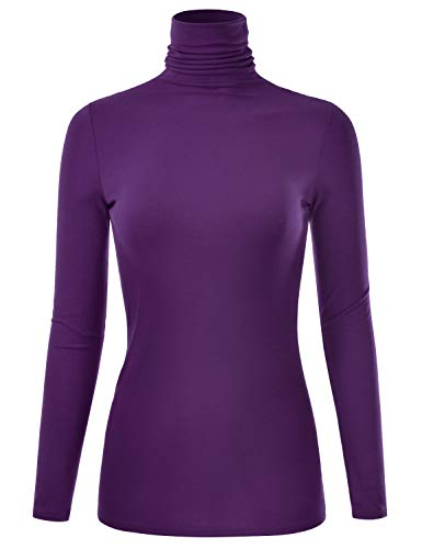 factory authentic aa7ca 2280c EIMIN Women s Long Sleeve Turtleneck Lightweight Pullover Slim Shirt Top  Purple L