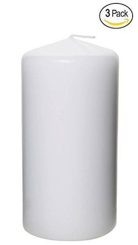 Pillar Candle for Wedding, Birthday, Holiday & Home Decoration by Royal Imports, 3x6, White Wax, Set of 3