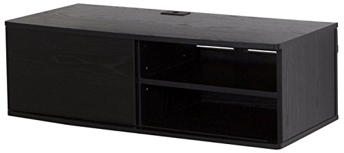 South Shore Agora Wall Mounted Media Audio/Video Console with Sliding Door, Black Oak