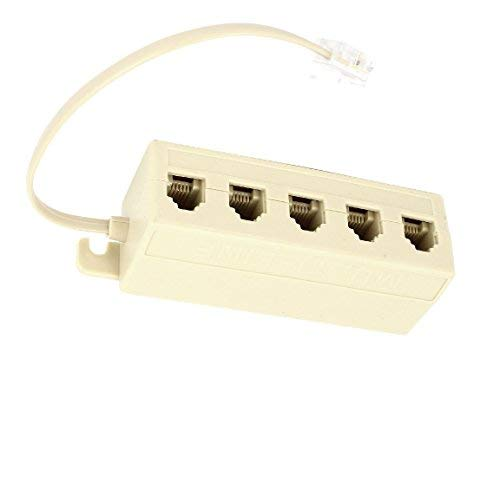 Tgom 5 Outlet Modular Jack Telephone Line Splitter With Cable White (Multi Phone Jack)