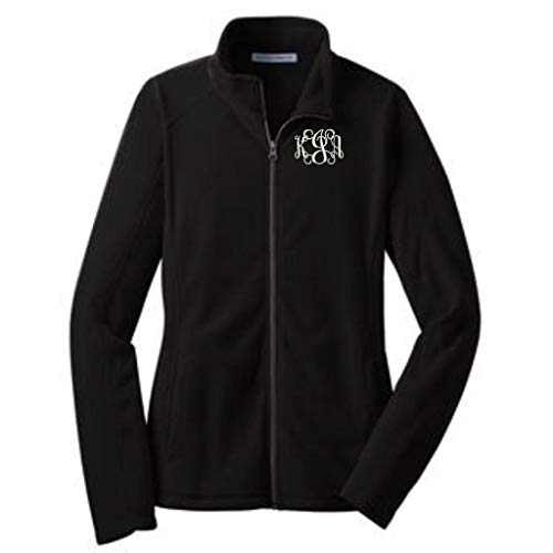 Lane Weston Monogrammed Women's Microfleece Jacket with Pockets (Medium, Black) ()