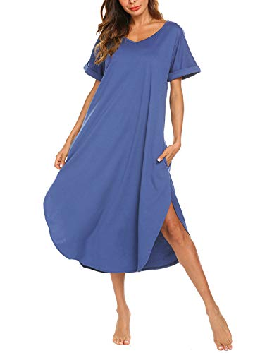 AVIIER Nightgown Womens Sleepshirts Cotton Nightshirt Long Sleepwear Pajamas (Sky Blue,M)