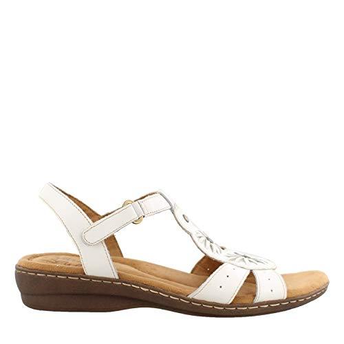 (Natural Soul Women's Barroll T Strap Sandal,White Leather,US 7 M)