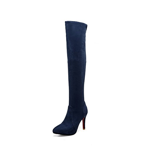 Boots Stilettos Blue High Solid Pointed Frosted Spikes Toe Top Allhqfashion Closed Women's Pvxgzg