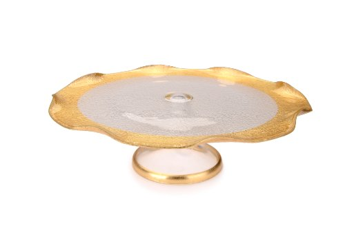 Classic Touch CPN637F Trophy Collection Footed Cake Plate with Gold Border, 8-Inch (Collection Footed Cake Plate)