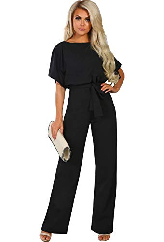 ALAIX Women's Elegant Short Sleeve Jumpsuit Loose Wide Leg Long Pants Rompers Overall with Waistband Black-M