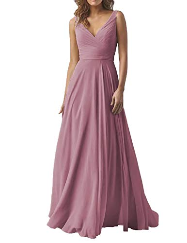 Women's Double V Neck Wedding Bridesmaid Dresses Long A-Line Chiffon Formal Evening Dress Quartz