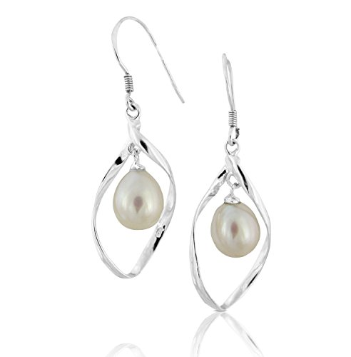 Pearlsnsilver Linear Swirl Loops French Wire Dangle Drop Earrings Cultured Pearl 14K Over Sterling Silver (White)