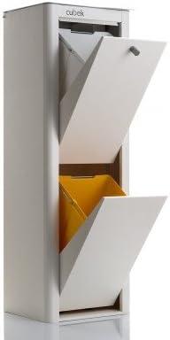 DON HIERRO - CUBEK - Cubo de basura y reciclaje lacado, con 2 compartimentos.