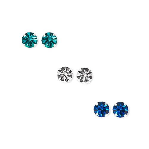 Claire's Accessories Girls Sterling Silver Clear, Blue and Green Round Crystal Stud Earrings Set of 3