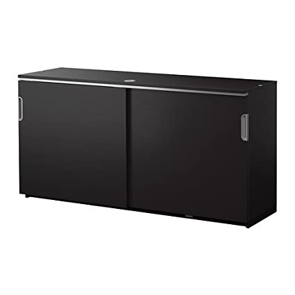 Amazon Ikea Cabinet With Sliding Doors Black Brown 3021022017