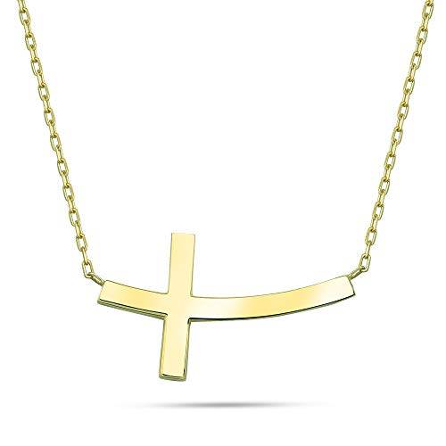18K Yellow Gold Plated .925 Sterling Silver Sideways Curved Cross Necklace, 16