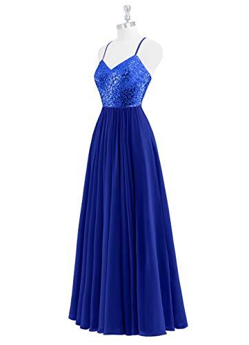 Robes De Bal Asbridal Longues Paillettes Robe De Cocktail De Soirée En Mousseline De Soie Soir Bleu Royal