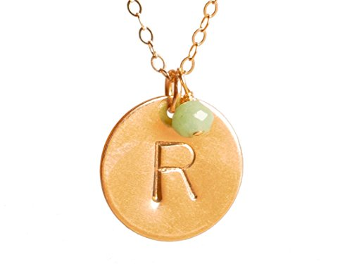 EFYTAL Initial Necklace + Birth Month Charm, Large Gold Filled Custom 15.9 Mm Personalized Disc Jewelry