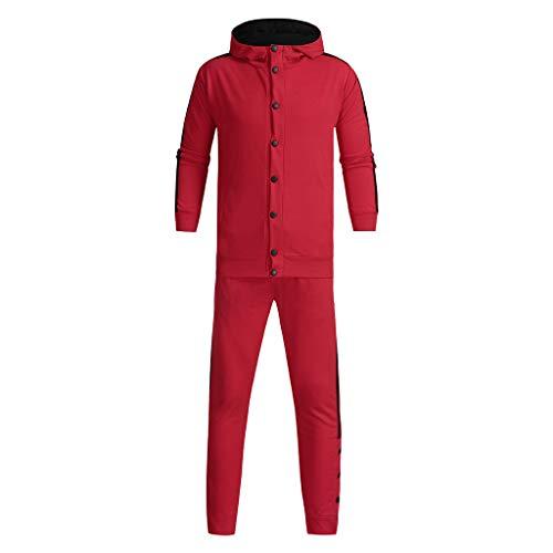 LEXUPA Men's Autumn Winter Casual Button Sweatshirt Top Pants Sets Sport Suit -
