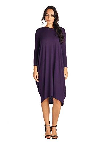 82 Days 82D-8255RS-EGG-SM Women's Rayon Span Long Sleeves Loose Fit Jersey Midi Dress - Solid