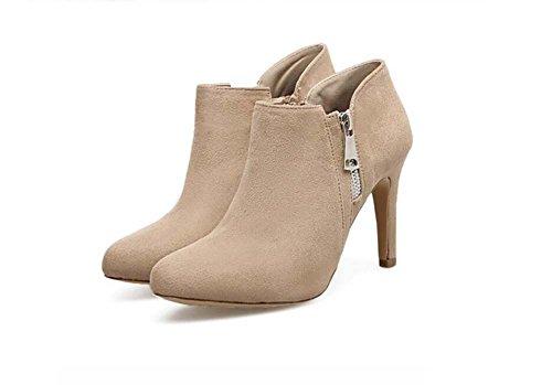 Pump Ankle Boot 9cm Stiletto punta Toe Short Botas zapatos de vestir Zapatos de Boda Mujer Simple Seude Pure Color zipper Corte Zapatos Casual zapatos Eu Tamaño 34-40 Beige
