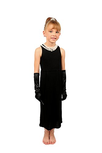 Mini Audrey Hepburn-the Girls Size Breakfast at Tiffany's Complete Costume Set Dress and Accessories (S, with gift box)
