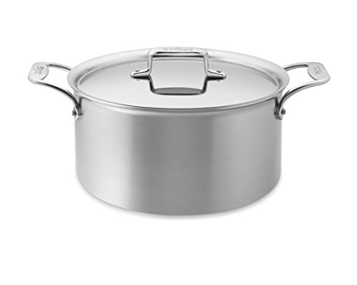 All-Clad D55508 D5 Polished 18/10 Stainless Steel 5-Ply Bonded Dishwasher Safe Stockpot Cookware, 8-Quart, Silver