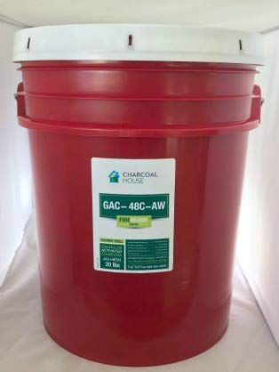 20lbs/5gal Pail GRANULAR Activated Charcoal (Coconut) 4x8 mesh AW in air and Vapor Filters for eliminating Odors and Toxic Vapors.