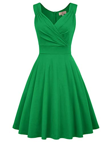 50s Style Vintage Swing Dress A-line Crew Neck Size S Green CL698-4