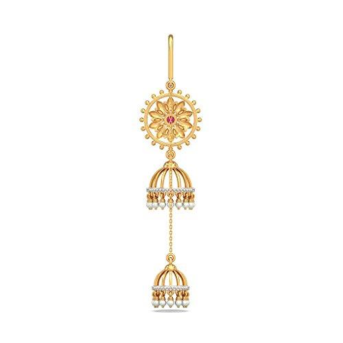 Or jaune 14K 0,4carat au total White-diamond (IJ | SI) et rubis et blanc perle Boucles d'oreilles