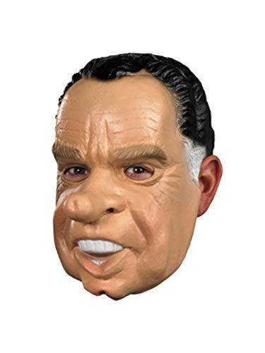 George Clinton Halloween Costume (Disguise Men's Nixon Vinyl mask, Tan/Black/White, One)