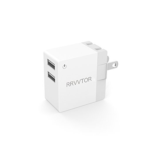 Dual USB Wall Charger/ 2.1A Safe Power Adapter with 2-Port and Foldable Plug for IPhone 7/IPad Air 2/ Google Pixel/Nexus 6P/Samsung Galaxy S8/LG G5 and More- White