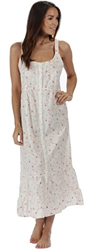 The 1 for U Ruby 100% Cotton Victorian Sleeveless Nightgown 7 Sizes (XL, Vintage Rose)