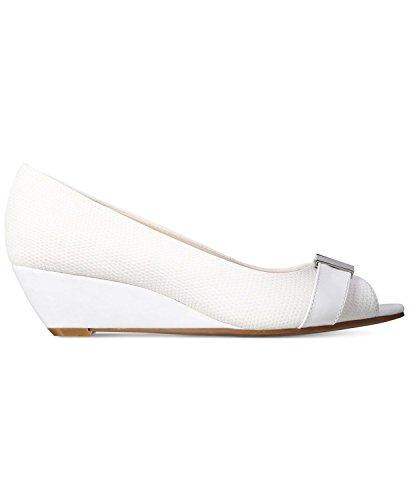 Alfani Womens Chorde Peep Toe Casual Platform Sandals  White Cotton  Size 9 0