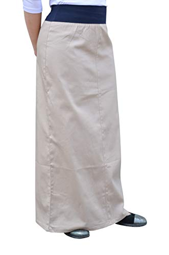 - Kosher Casual Women's Modest Long Maxi Lightweight Cotton Stretch Twill Skirt with Stretch Waistband Large Beige