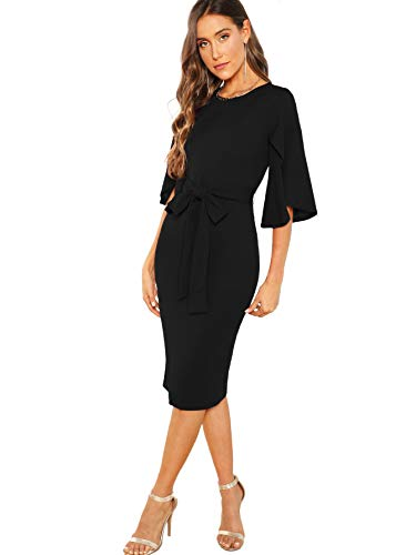 Floerns Women's Ruffle Sleeve Tie Waist Cocktail Party Bodycon Pencil Midi Dress Black M