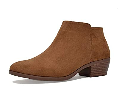TOETOS Women's Block Heel Side Zipper Ankle Booties