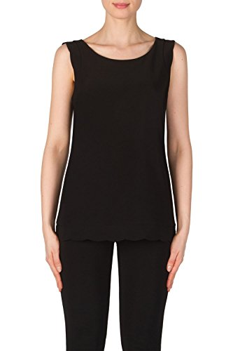 Joseph Ribkoff Black Silky Knit Scallop Hem Top Style 181128 - Size 10