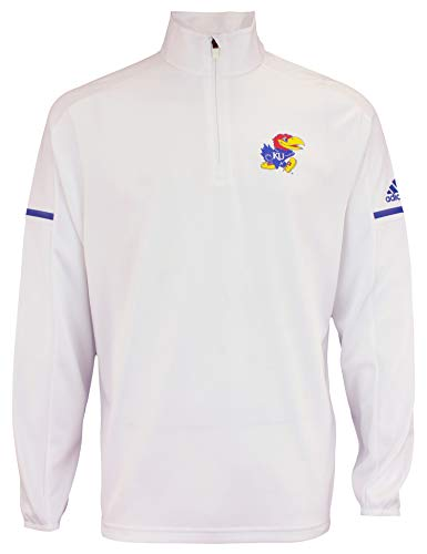 adidas Men's NCAA Team Logo 1/4 Zip Pullover, Kansas Jayhawks-White - Zip Kansas