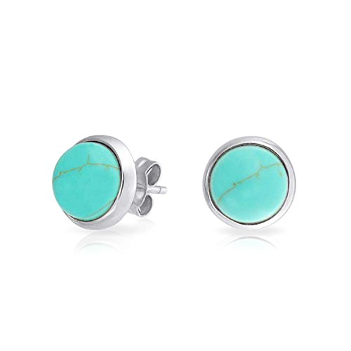 (Aqua Blue Bezel Set Stabilized Turquoise Round Dome Stud Earrings For Women 925 Sterling Silver)