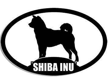 MAGNET Oval SHIBA INU Silhouette Magnet(dog breed) Size: 3 x 5 inch ()