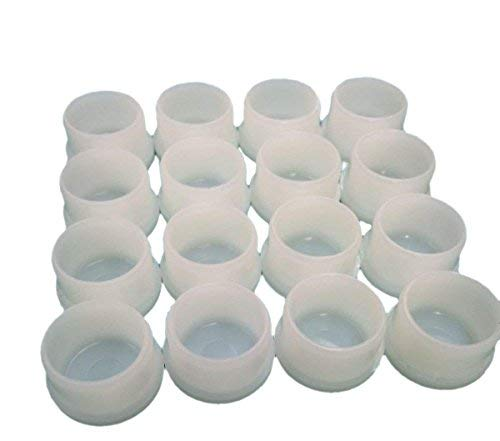 16 (Sixteen) Plastic White Patio Chair Table Tube Feet Inserts Cups 1 Inch Glide Caps