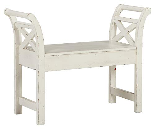 (Ashley Furniture Signature Design - Heron Ridge Storage Accent Bench - Antique White Finish - Hinged Seat)