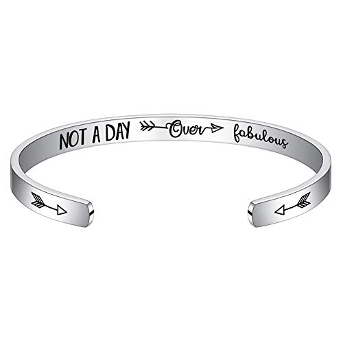 Birthday Gifts for Women Best Friend - Engraved Not A Day Over Fabulous Motto Bangle Bracelet Jewelry Christmas Birthday Gifts for Women Daughter Wife Sister Coworker Close Friend Moms Birthday Gifts