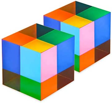 CMY Color Cube, 1.6 inch Acrylic Glass Cube Prism, Multi-Color Physics Toy and Desktop Decor, 2 Pack