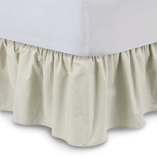 Shop Bedding Ruffled Bed Skirt (Queen, Bone) 14 Inch Drop Dust Ruffle with Platform, Wrinkle and Fade Resistant - by Harmony Lane (Available in All Bed Sizes and 16 -