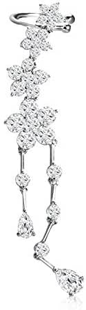 Yoshine Cubic Zirconia Crystal Ear Cuff Wrap Earring Valentines day gifts for her